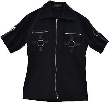 Camisa de manga corta celibato 14099905.008M -Men gótica de Steampunk con cremallera y metal - Gr. M delgado negro: Amazon.es: Juguetes y juegos