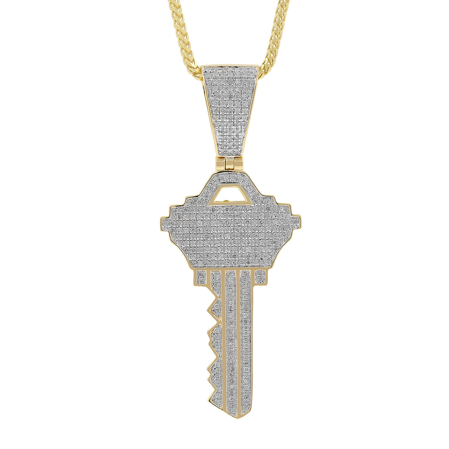 1.34ct Diamond Key Mens Hip Hop Pendant Necklace in Yellow Gold Over 925 Silver (H-I, I1-I2)