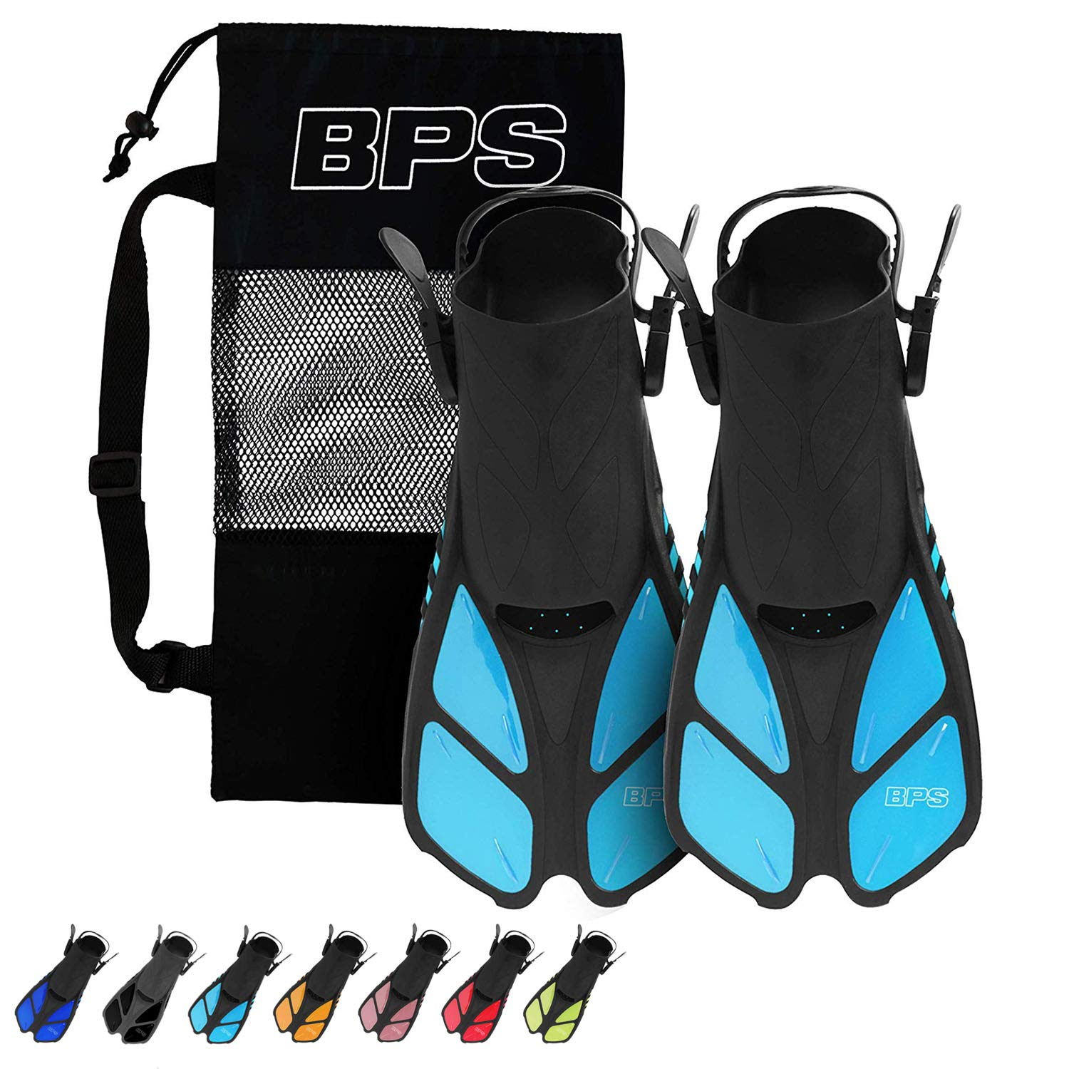 BPS Short Adjustable Swim Fins - Open-Toe and Open-Heel Design - for Diving, Snorkeling, Scuba Diving - Swim Flippers for Kids and Adults - Unisex - Comes with Bag for Storage (Light Blue - S/M) by BPS