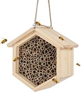 Mason Bee House Natural Handmade Wooden Insect Hotel with Hollow Tubes Bamboo Bee Hive Nest Shelter Box Hanging Bug House for Outdoor Garden Decoration Butterfly Peaceful Bees Ladybugs Insect House