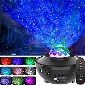 GeMoor Night Light Projector Ocean Wave Projector Star Projector Night Light Projector with Bluetooth Music Speaker for Baby Kids Bedroom/Game Rooms/Home Theatre/Night Light Ambiance