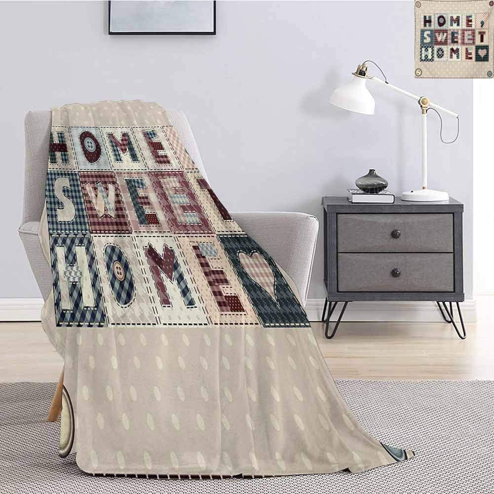 Luoiaax Home Sweet Home Children's Blanket Patchwork Style Composition with Letters on Retro Polka Dots Buttons Print Lightweight Soft Warm and Comfortable W80 x L60 Inch Multicolor by Luoiaax