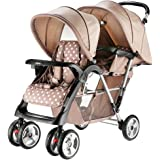 Beautylife88 #0011 Baby Double Stroller Click Connect Stroller Coffee