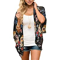 BB&KK Women's Floral Print Sheer Chiffon Lace Loose Kimono Cardigan Capes
