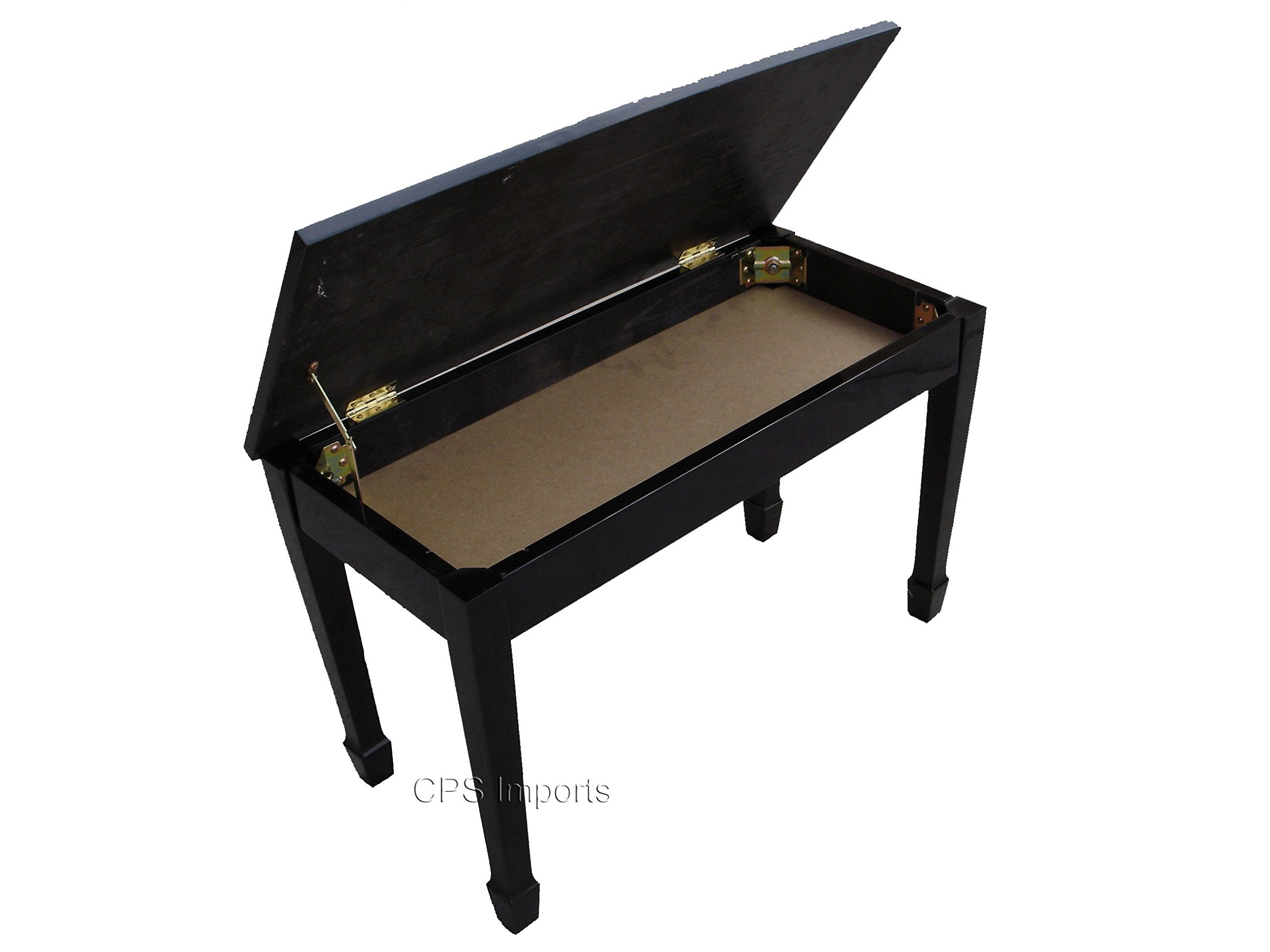 Ebony Wood Top Grand Piano Bench with Music Storage