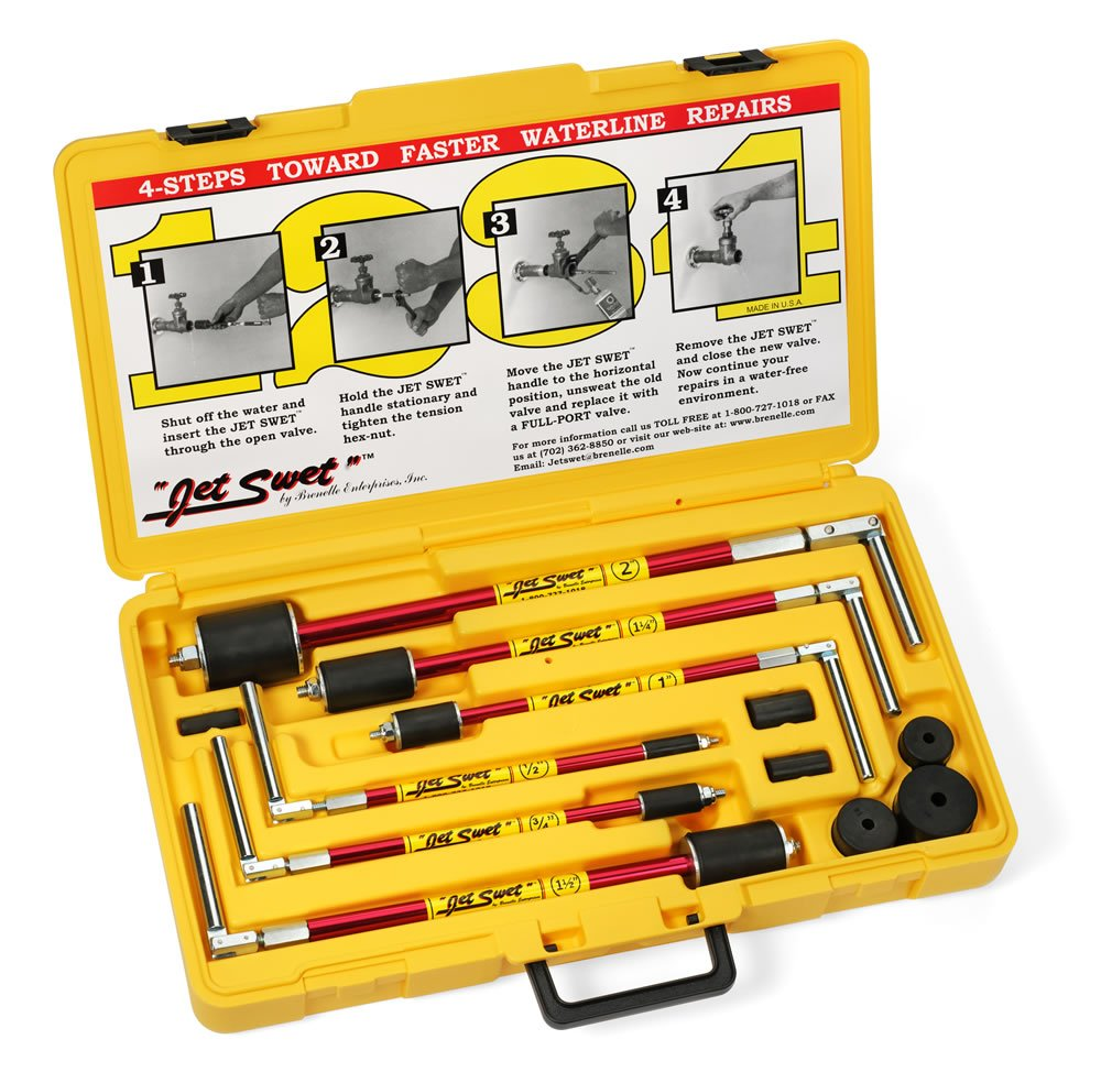 NEW Jet Swet 6800 Kit: Tools & Replacement Gaskets for the 1/2'' to 2'' Sized Pipes in a PVC Heavy Duty Carrying Case