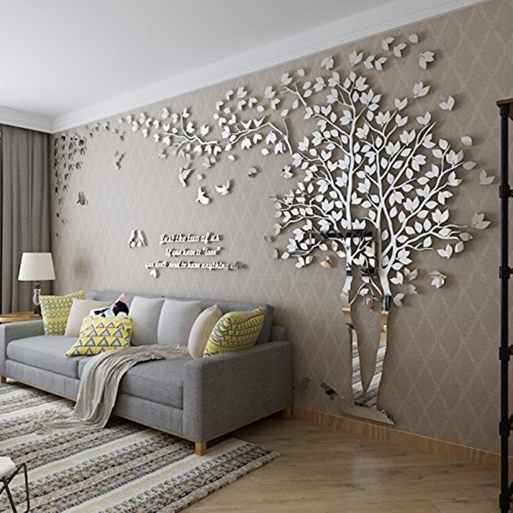 DIY 3D Riesiger Baum Paar Wandtattoos Wandaufkleber Kristall Acryl Malen Wanddeko Wandkunst (XL, Silber, Links)
