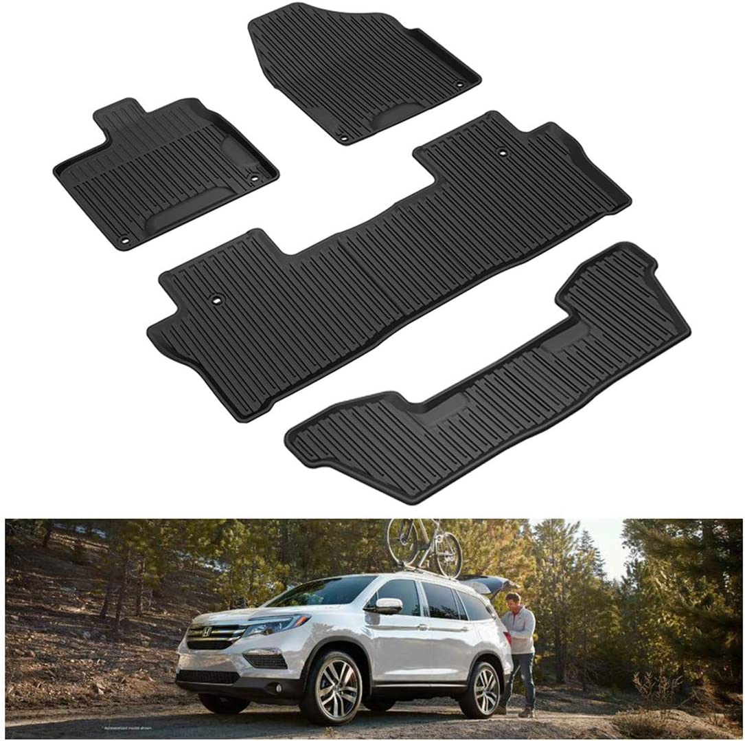 1st /& 2nd Row All Weather Protection Custom Fit Floor Liners for 2016-2020 Honda Pilot YITAMOTOR Floor Mats Compatible with Honda Pilot