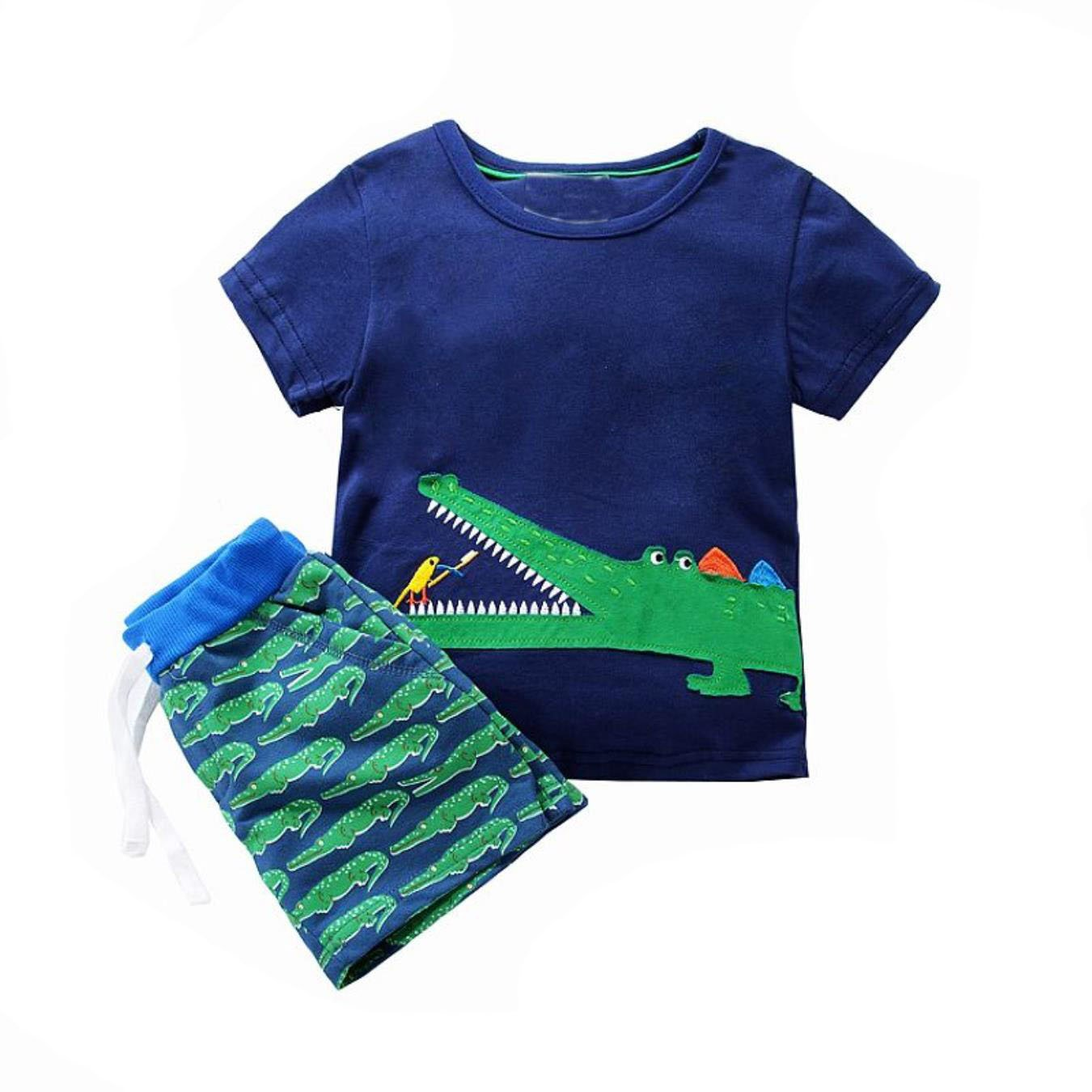 ef9d12897140 Amazon.com: Summer Baby Boy Clothes Animal Applique Sport Suits Boys  Clothing: Clothing