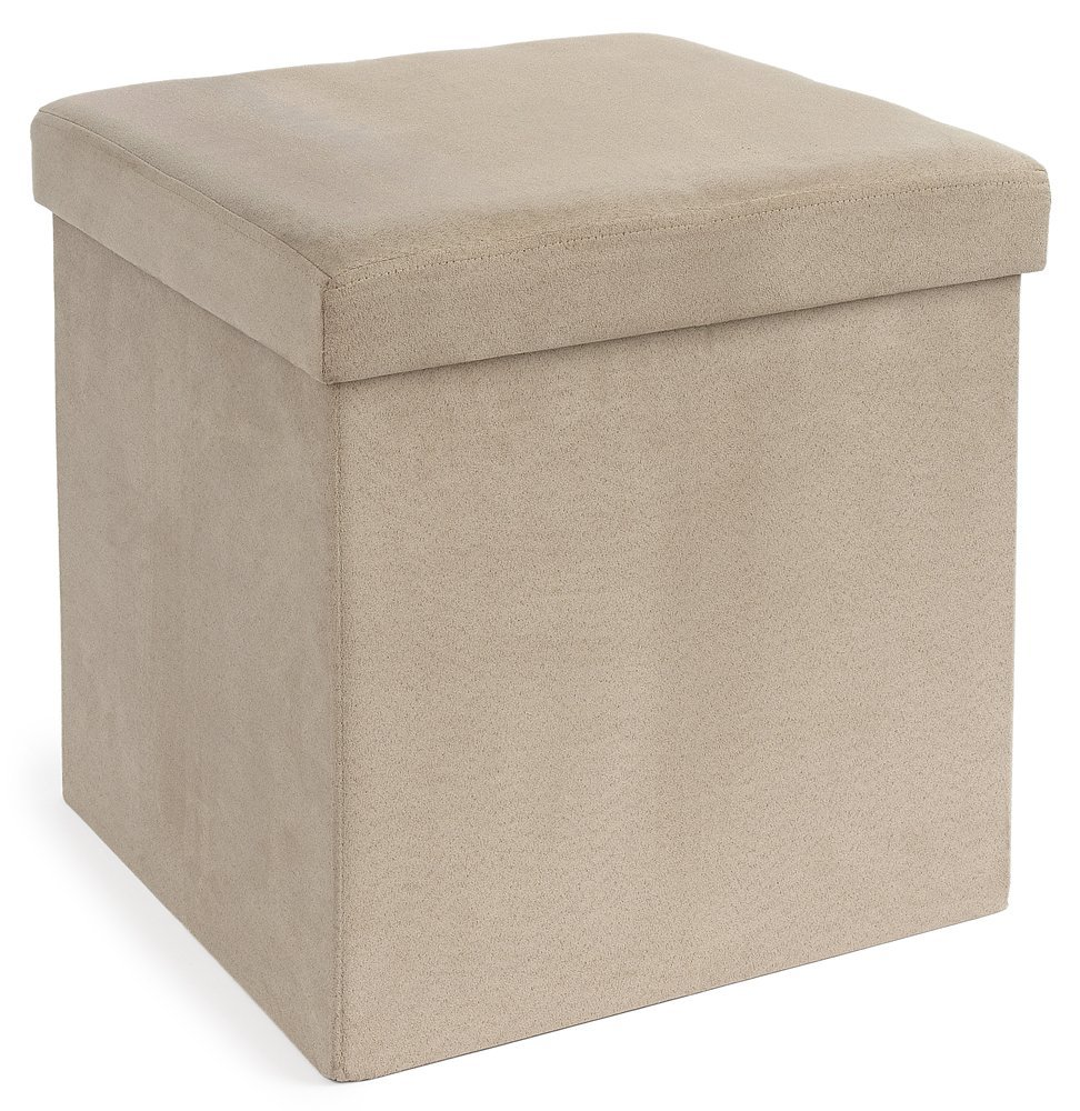 FHE Group Microsuede Folding Storage Ottoman, 15 by 15 by 15 Inches, Beige