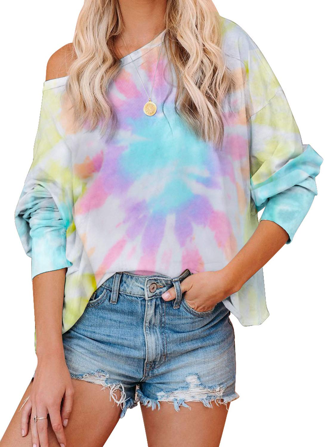 BLENCOT Women's Tie Dye Printed Long Sleeve Sweatshirt Round Neck Casual Loose Pullover Tops Shirts