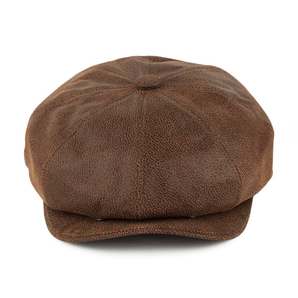 879743e4e59 Jaxon   James Leather Newsboy Cap - Brown  Amazon.co.uk  Clothing