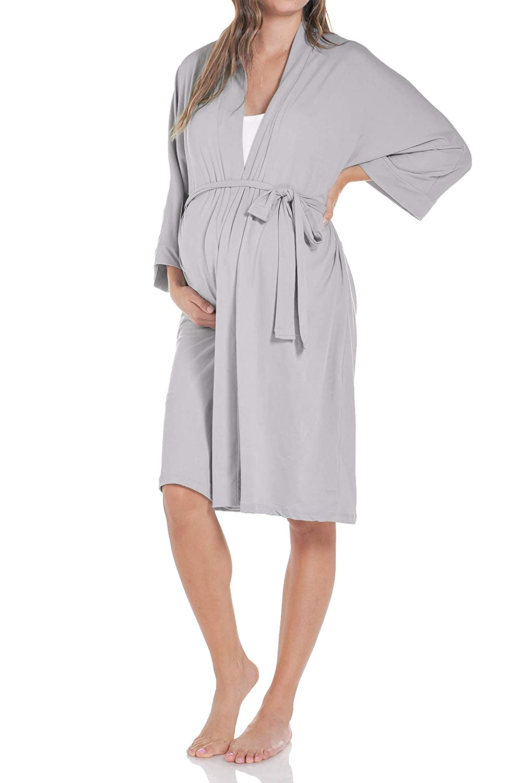 cb8266e49dd85 Beachcoco Women's Maternity Robe delivery/Nursing Made in USA at Amazon  Women's Clothing store: