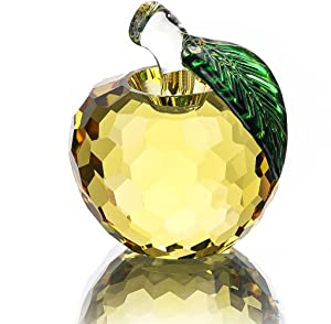 H&D Crystal Yellow Apple Paperweight 40mm Art Glass Apple Collectible Figurines Best for Christmas Eve Gifts