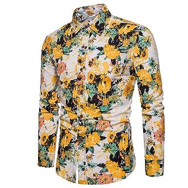 Slim Imprimé Grande Fleur Longues Manches Youthny Floral Homme Fit Chemise Taille cjAL543Rq