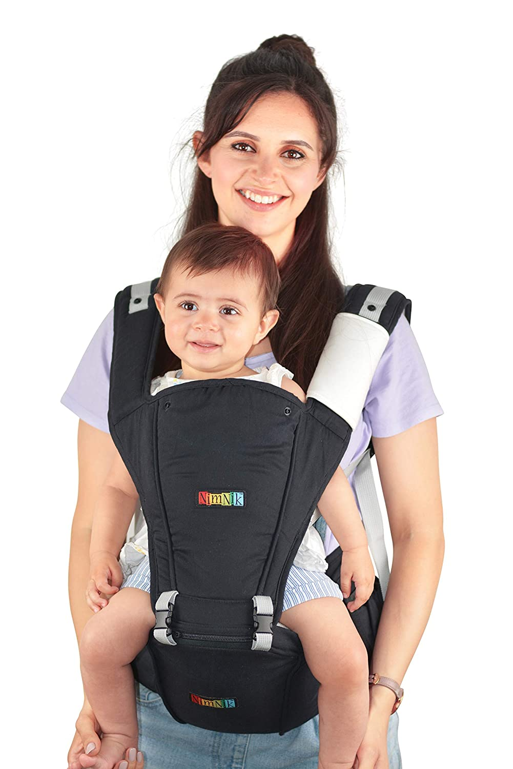 NimNik Baby Sling Carrier Ergonomics Lightweight Hipseat with Lumbar Support, 4 in One Back 2 Front Facing Comfort Positions NMNK-HS01