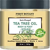 100% Natural Tea Tree Oil Body & Foot Scrub with Dead Sea Salt - Best for Acne, Dandruff and Warts, Helps with Corns…
