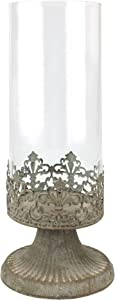 Stonebriar Fleur de Lis Hurricane Candle Holder, Large, White