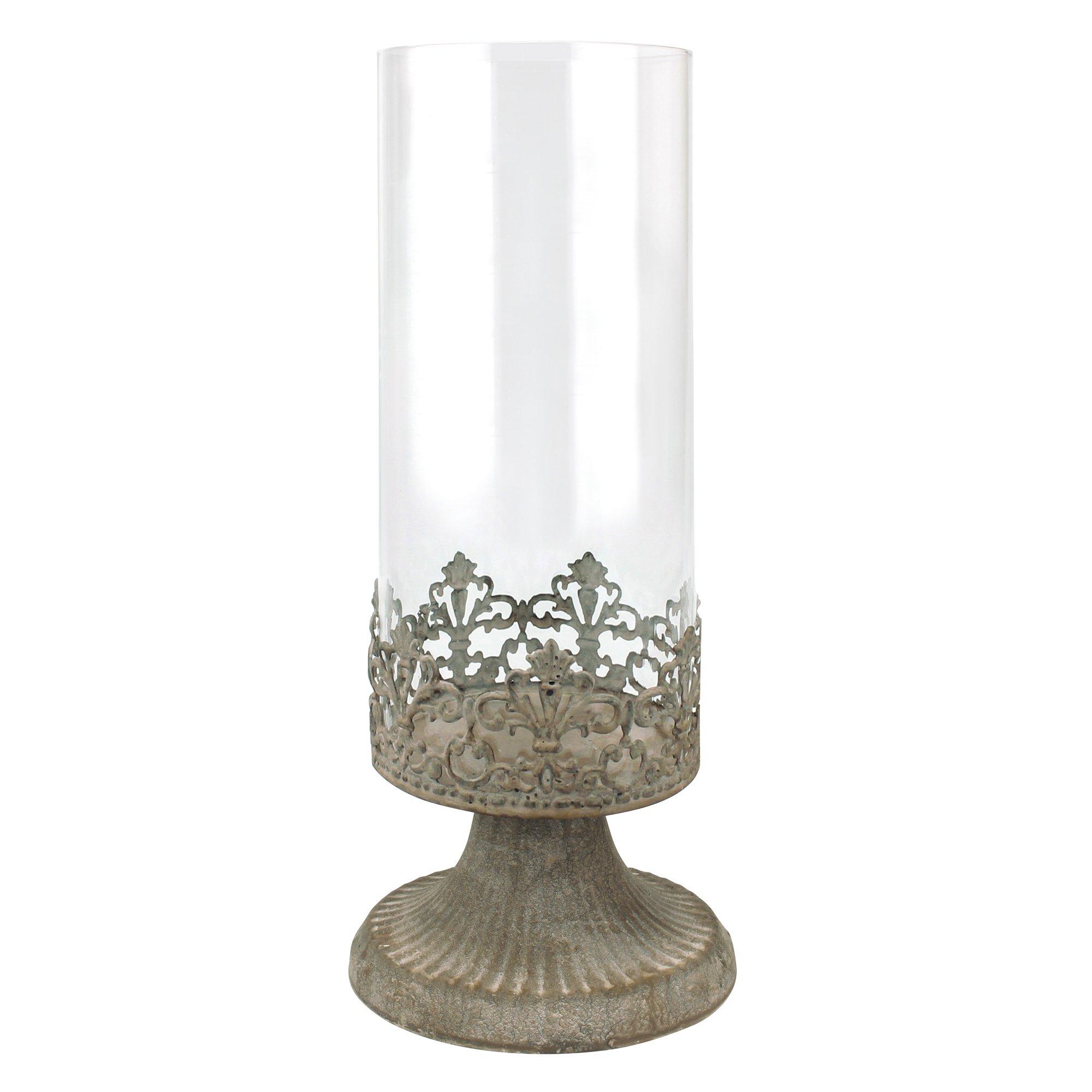 Stonebriar Slim Cylinder Glass Fleur de Lis Hurricane Candle Holder Centerpiece