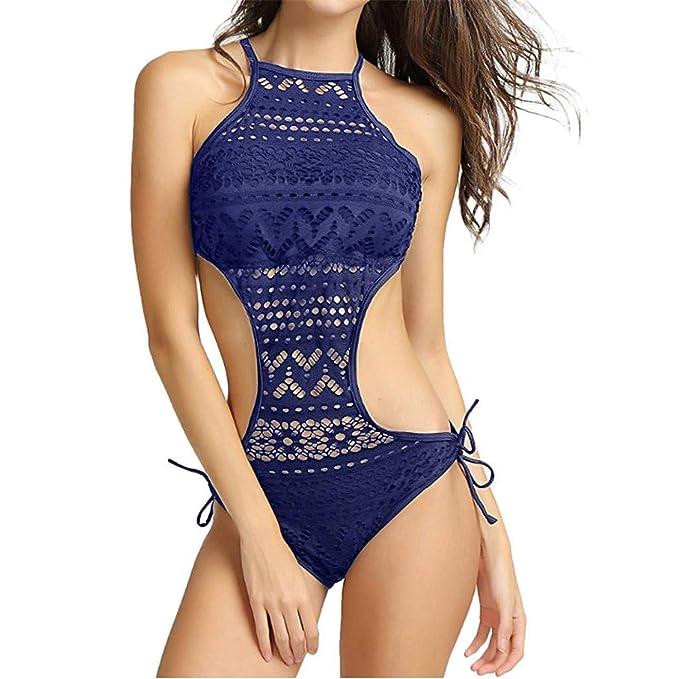 0e8d8fa4c6 chuangminghangqi Donne Costume da Bagno Intero Pizzo Backless Bikini Fascia  Trikini Costumi da Mare Spiaggia Beachwear: Amazon.it: Abbigliamento