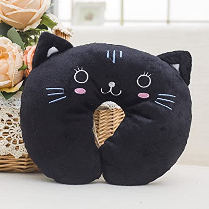 Amazon.com: Cartoon Black cat Animal pattern U-shaped Pillow ...