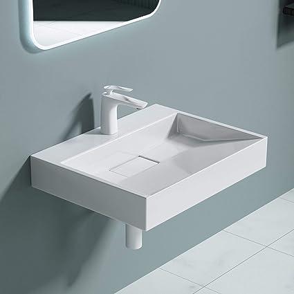 Nano-sellado dise/ño Br/üssel-5021 doporro: Lavabo sobre encimera de cer/ámica en blanco 80 cm de ancho