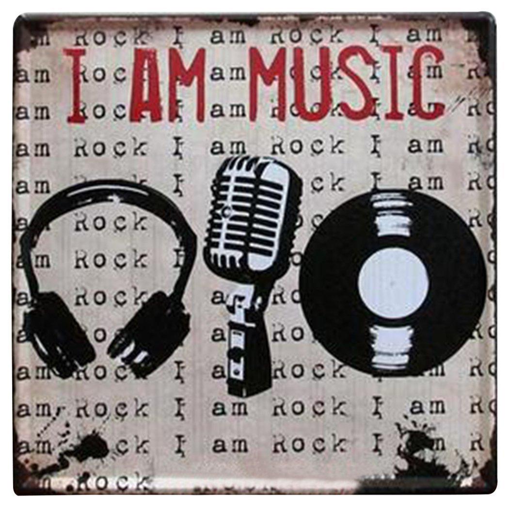 "Nafico Decorative Signs Metal Iron Tin Sign Family Love Wall Decoration Art Bar Home Decor 12""x12"" (Music)"
