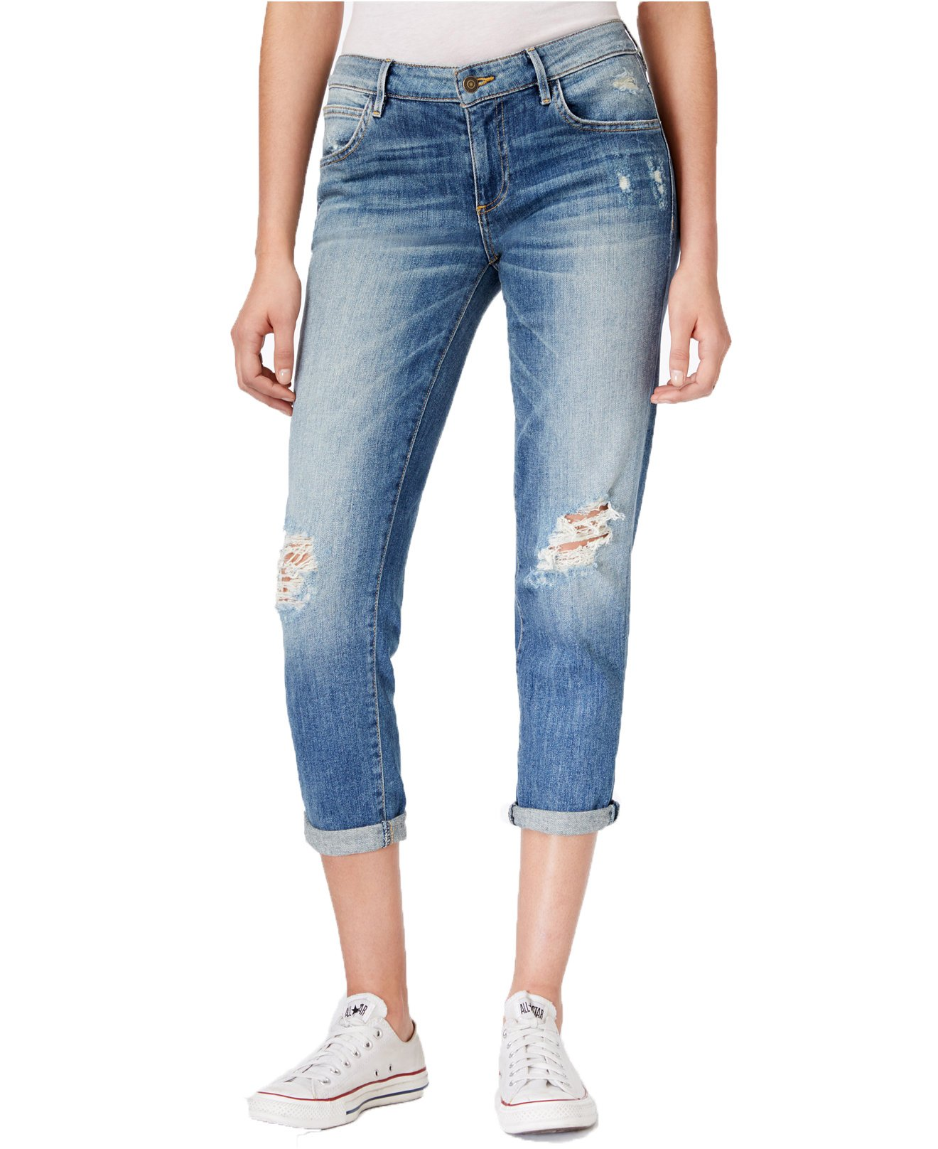 GUESS Women's Tomboy Ripped Cropped Jeans (29, Inkwell Destroy Wash)