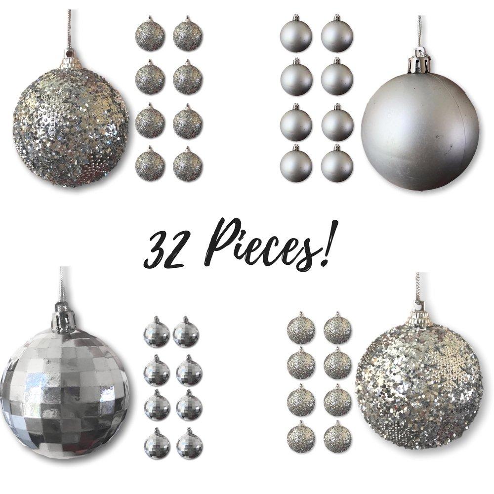 Christmas Ball Ornaments - Silver Ball Ornaments - Pack of 32 - Shatterproof Ball Ornaments - Silver Christmas Decorations