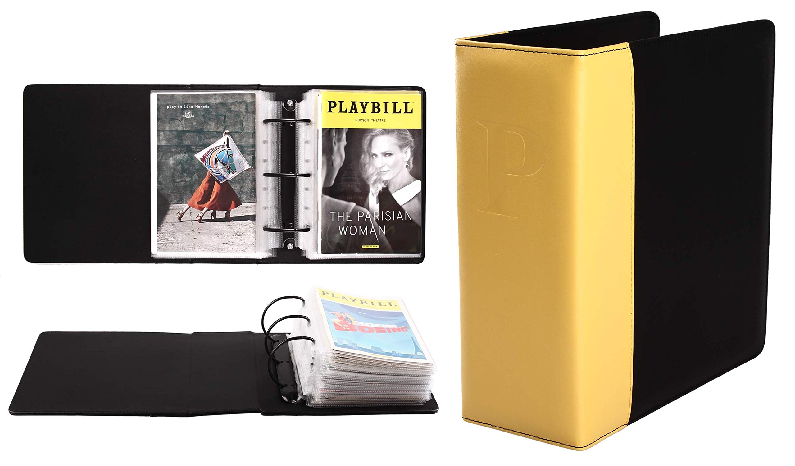 Broadway Play Program and Theater Playbill Binder with 30 Custom Sheet Protectors - PU Leather - Fits Playbills from Mid 1980s to Modern (Yellow/Black EmbossedP) by 2Fold Supply (Image #1)