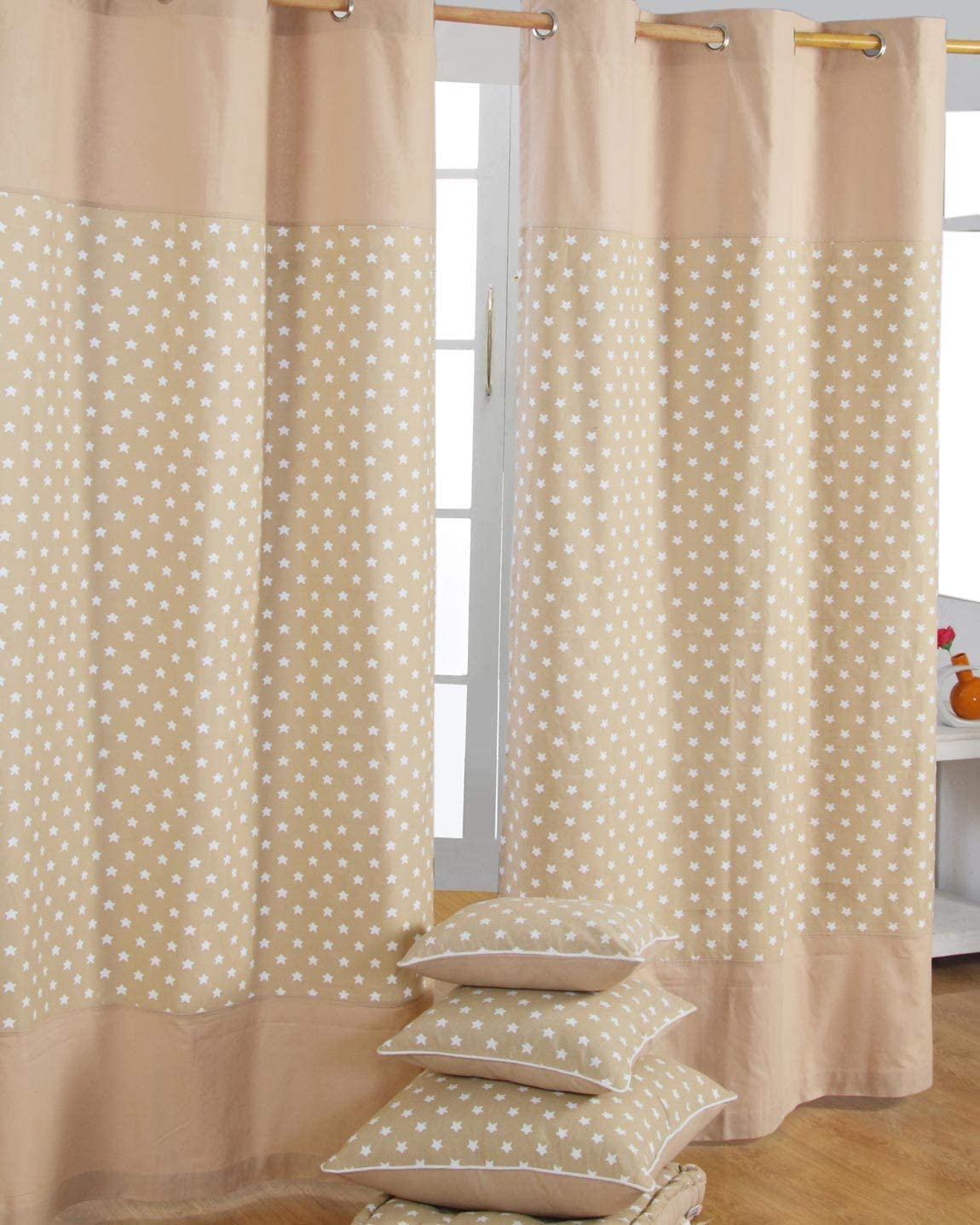 HOMESCAPES par de Cortinas de algodón Beige con Estrellas Blancas 137x182cm: Amazon.es: Hogar