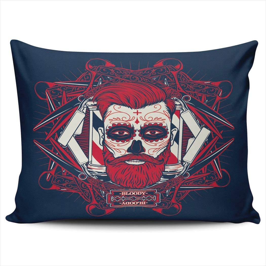 CENYUO Pillowcase Day of The Dead Red Sugar Skull Bloody Decorative Pillow Case Throw Pillows Cushion Cover Standard 20x26 Inch for Home Decor Sofa Bedroom