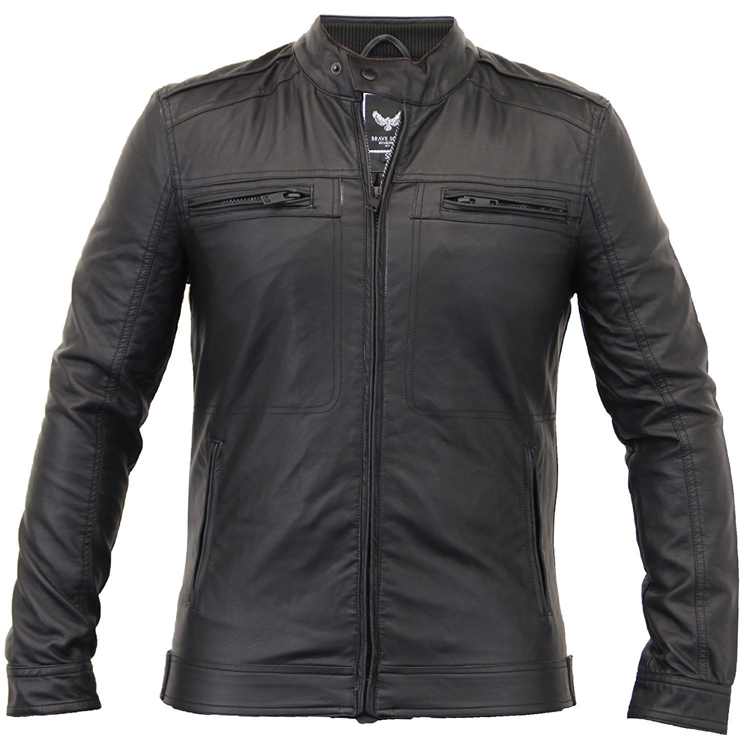 Love My Fashions New Mens Black Faux Leather Zipped Side Pockets Jacket Size S M L XL