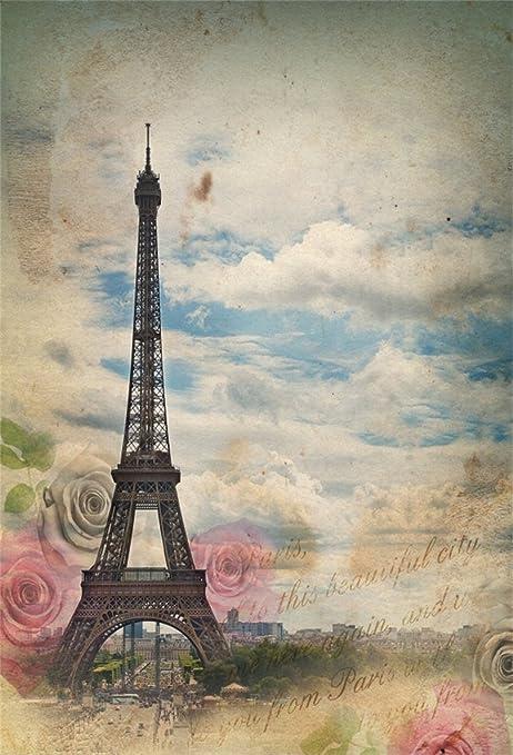 Aofoto 6x8ft Eiffel Tower Backdrop Paris Sky Rose Amazon Co Uk Camera Photo