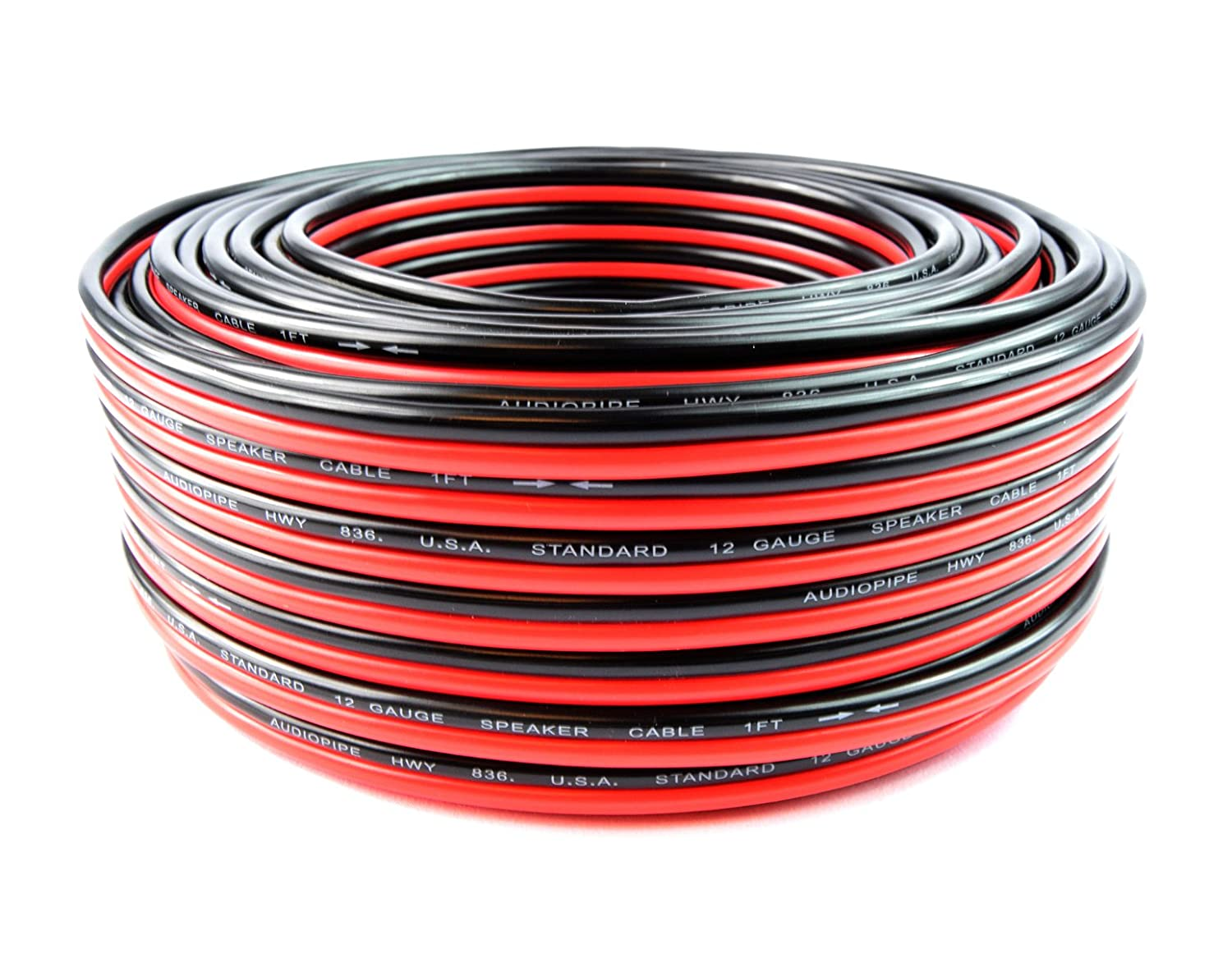 100 feet #12-100 RB Home Audio Audiopipe 12 GA Gauge Red Black Stranded 2 Conductor Speaker Wire For Car