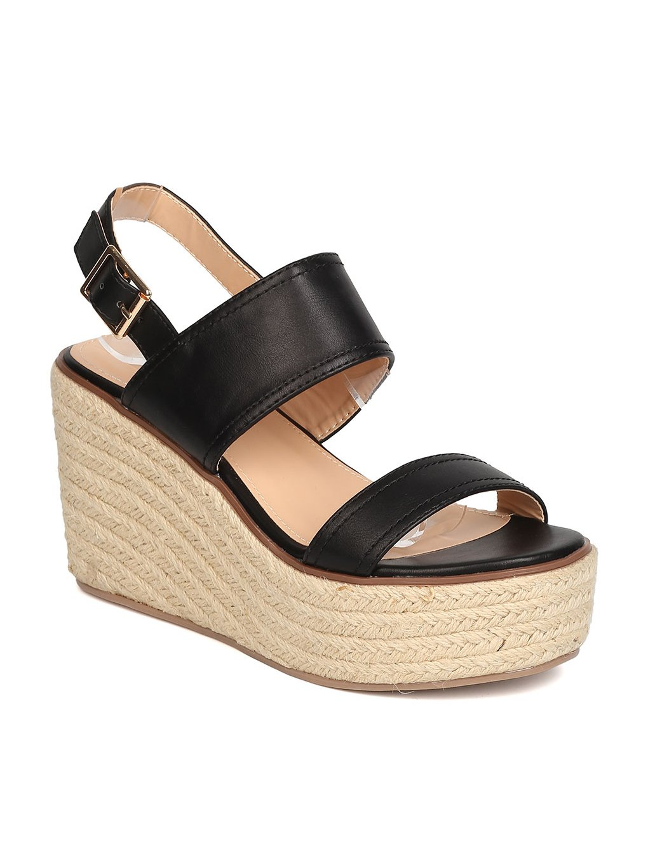 BETANI Women Leatherette Open Toe Espadrille Platform Wedge Sandal GB98 B01N23TA72 10 M US|Black