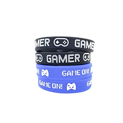 L LIFETIME Video Game Party Favor Bands, Gamer Birthday Supplies Goody Bag Kids Teen Tween Size Wrist Bracelets for Boys Girls 24 Pack: Toys & Games