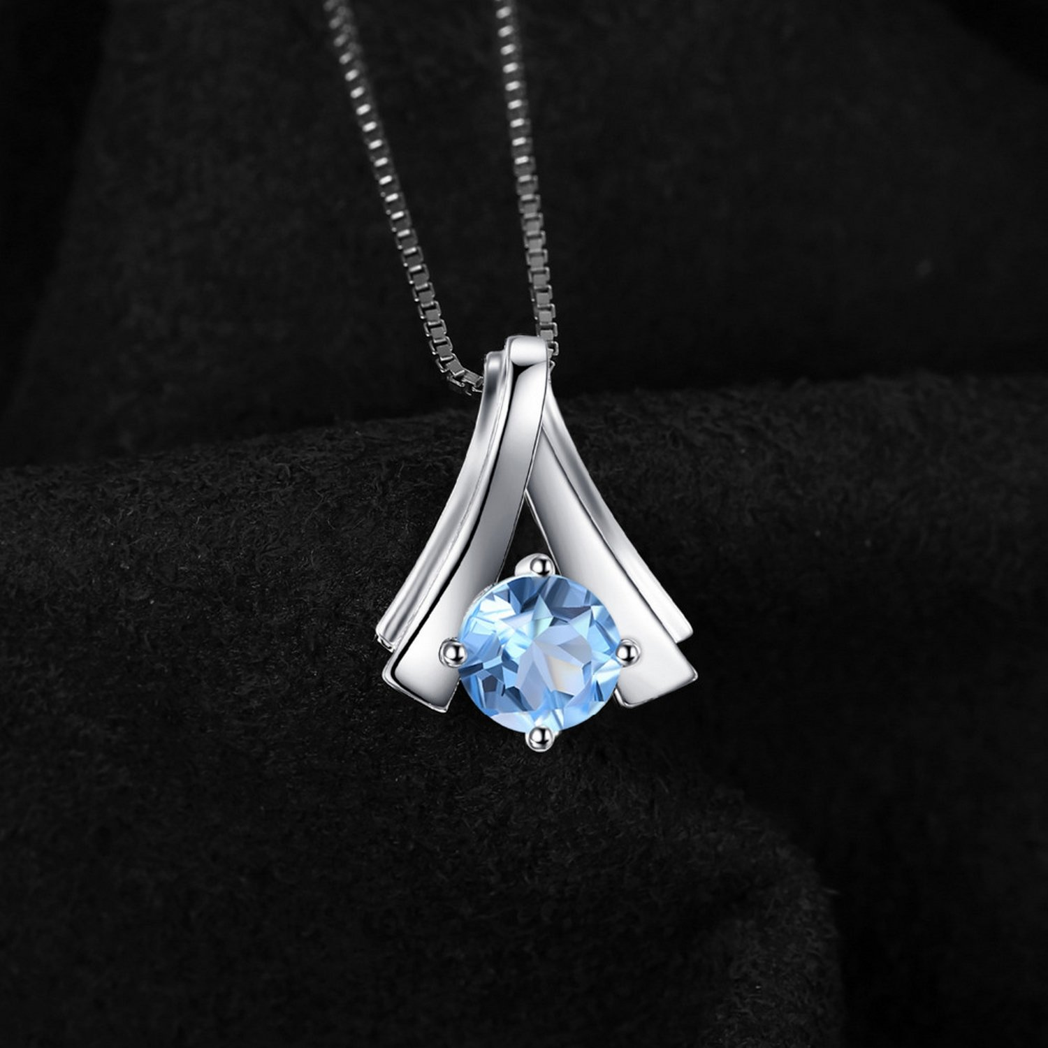 MMC Womens Necklaces Pendants 1ct Blue Topaz Gift for Friends Silver Jewelry