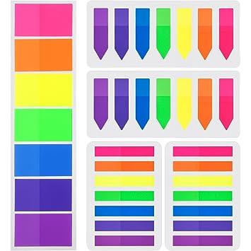 700 Piezas Notas Adhesivas Índices 3 Tamaños Etiquetas Grabable Marcador de Página Tiras de Resaltador de Texto, 7 Colores, 5 Set: Amazon.es: Oficina y ...