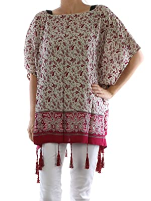 Red cover up poncho paisley print poncho Fashion Jewelry FancyCharm