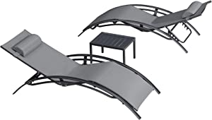 PURPLE LEAF Patio Chaise Lounge Sets 3 Pieces Outdoor Lounge Chair Sunbathing Chair with Headrest and Table for All Weather, Grey