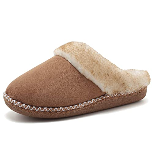 76c13c713cf2 FANTURE Women s House Slippers Micro Suede Faux Fur Lined Indoor   Outdoor  Slip On House Shoes