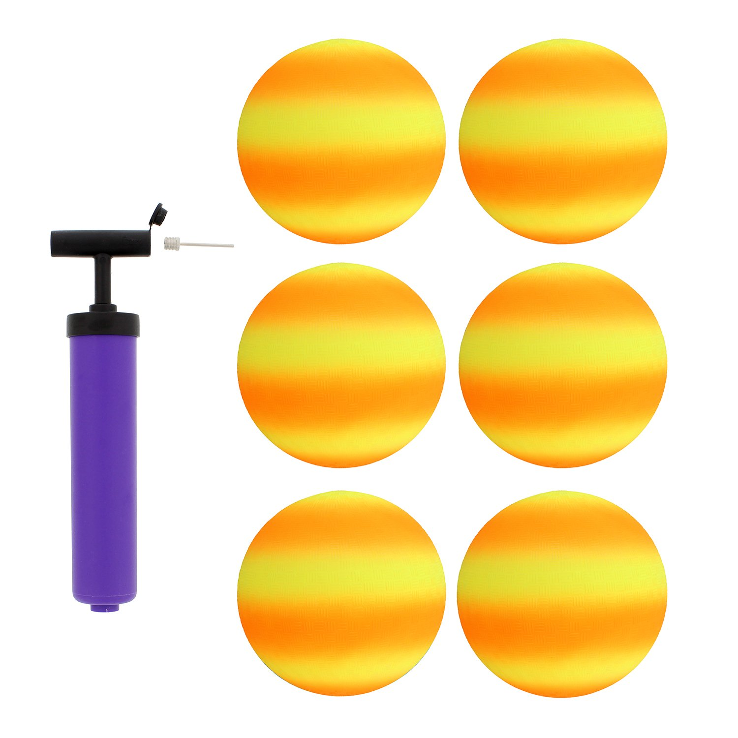 Get Out! Rubber Play Ball 6pk & Inflator, 8.5in Orange & Yellow Small Playground Ball Four Square Balls & Hand Pump