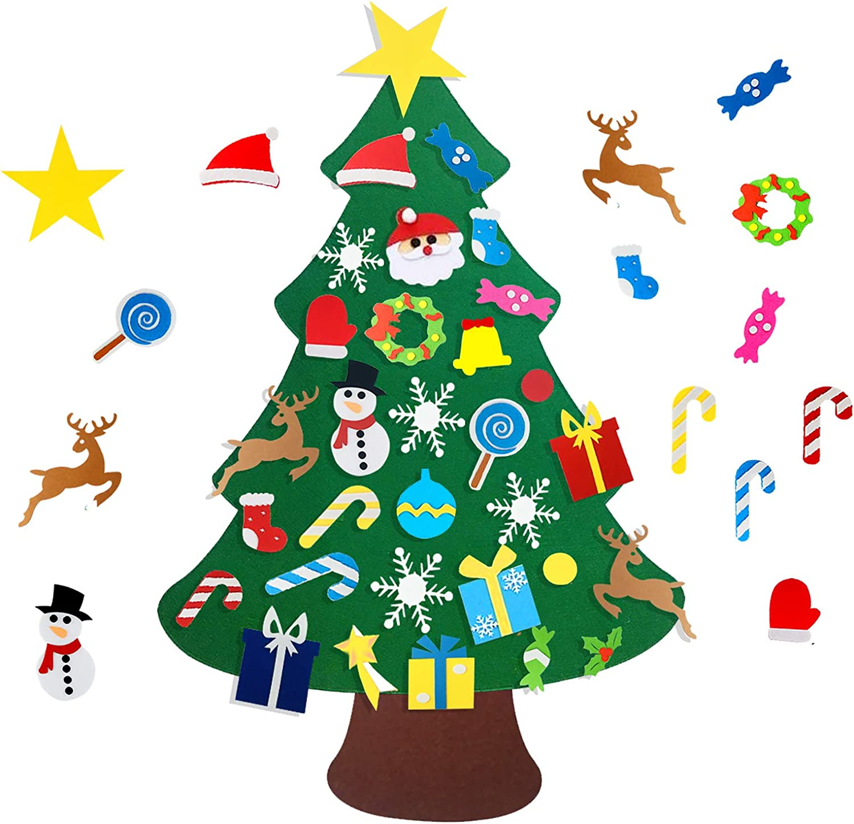 Mazoliy DIY Christmas Tree Xmas Gifts for Kids with 32pcs New Year Handmade Christmas Home Decorations Felt Tree Detachable Ornaments