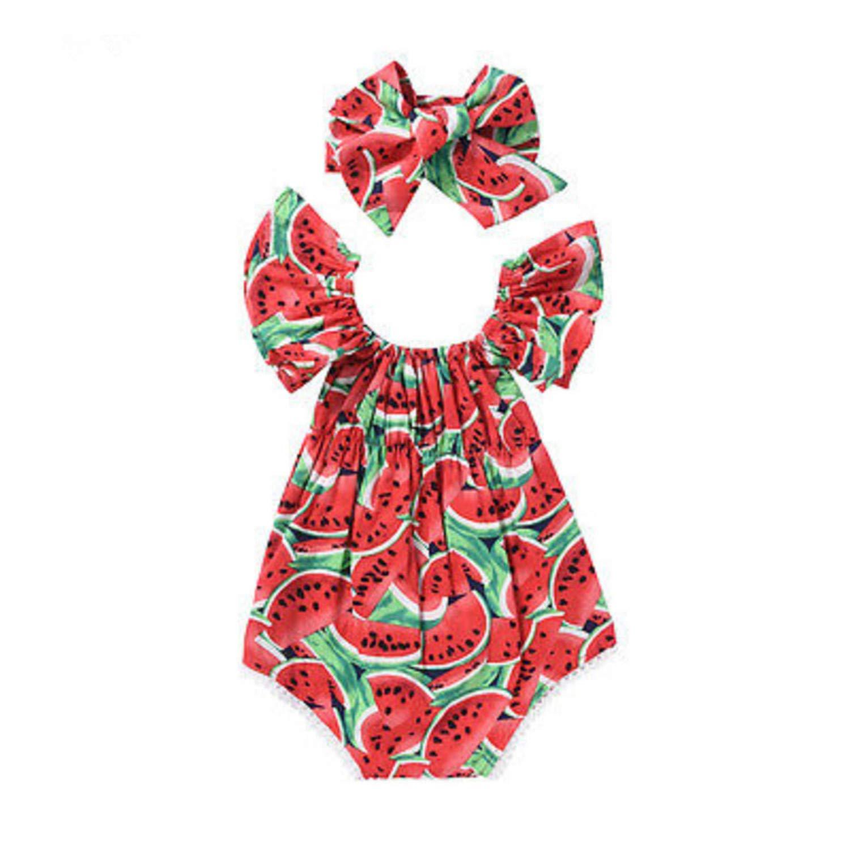 Daniel Galsworthy Newborn Baby Girls Watermelon Clothes Ruffles Sleeve Bodysuit Jumpsuit Outfits Playsuit