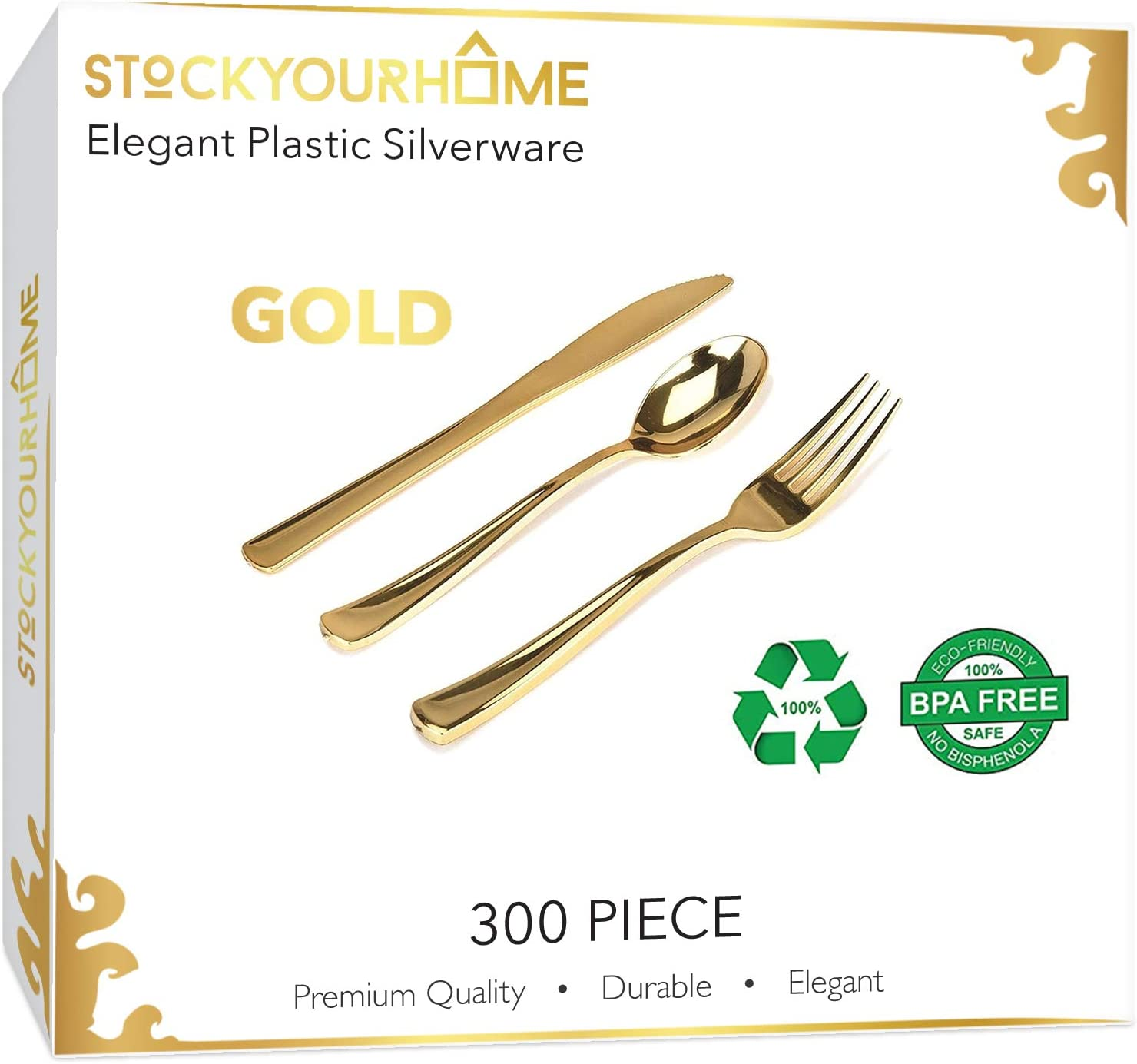 300 Gold Plastic Silverware - Gold Disposable Silverware - Gold Plastic Cutlery - Gold Plastic Utensils - Gold Party Utensils – 100 Gold Plastic Forks, 100 Gold Plastic Spoons, 100 Gold Plastic Knives