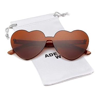 4ce109021c4c Love Heart Shape Sunglasses Women Rimless Frame Colorful SunGlasses (brown,  brown): Amazon.co.uk: Clothing