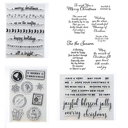 Christmas Sentiments For Cards.Welcome To Joyful Home 4pcs Set Christmas Sentiments Rubber Clear Stamp For Card Making Decoration And Scrapbooking