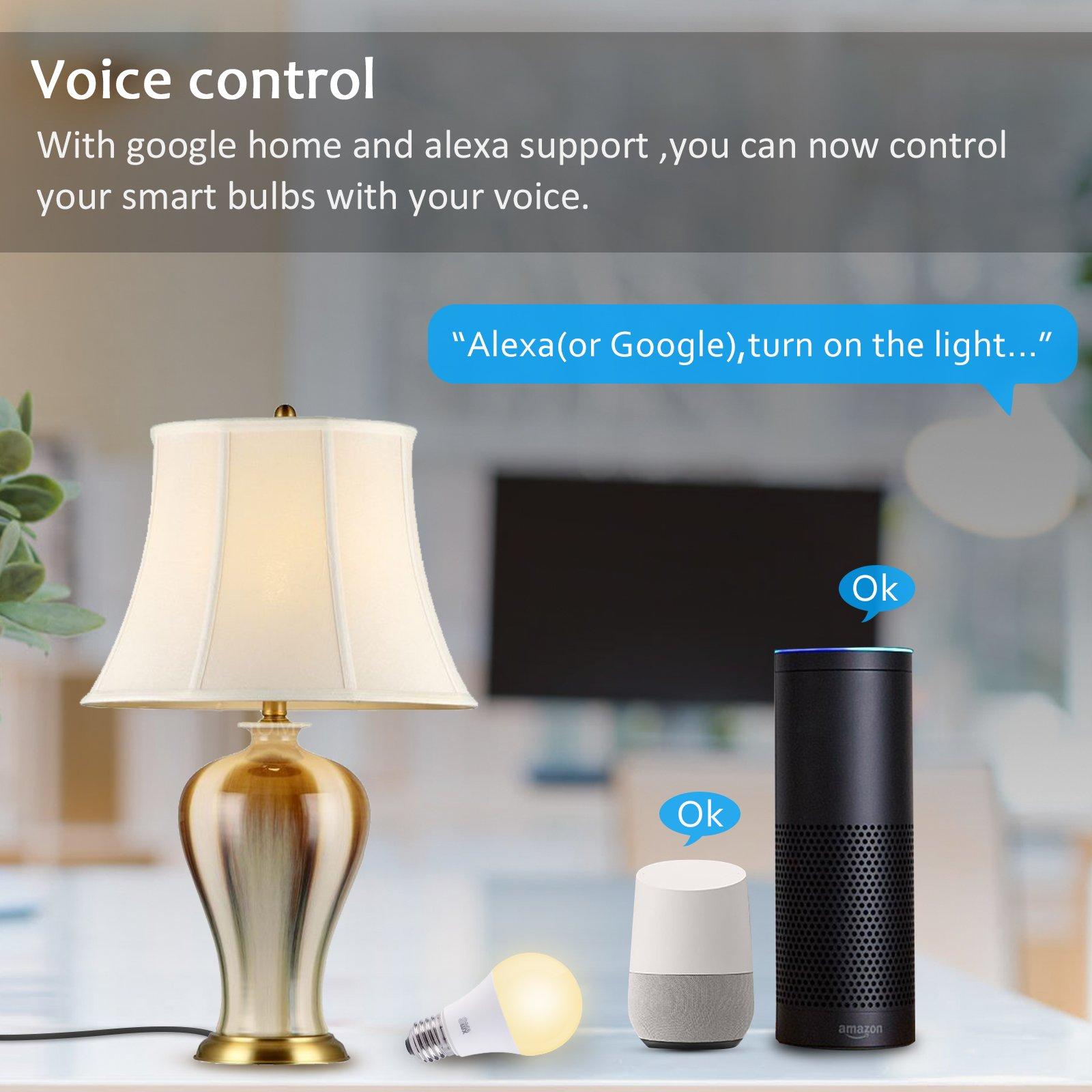Smalux 800LM Smart LED Birne Wifi Hue Licht A60 9W E27, Warmweiß Timing-Funktion, Fernbedienung durch Smartphone Anwendbar für Alexa und Google Assistant, keine Nabe erforderlich (A60/W 1 Pack) [Energieklasse A+]