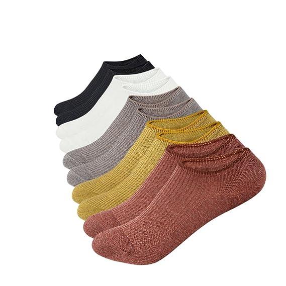 Anliceform Calcetines de mujer, de corte bajo, antideslizantes, 5 pares de calcetines de algodón cortos sin tobillo para uso deportivo.: Amazon.es: Ropa y ...